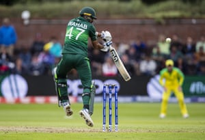 Wahab Riaz of Pakistan nicks the ball to the wicketkeeper to lose his wicket.