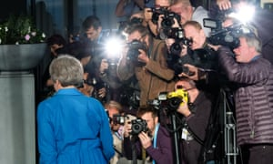 Theresa May arriving at the Hyatt Regency Hotel in Birmingham yesterday ahead of the Conservative conference.
