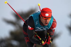 Pita Taufatofua of Tonga competes during the Cross-Country Skiing Men's 15km Free at Alpensia Cross-Country Centre