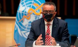 World Health Organization (WHO) Director-General Tedros Adhanom Ghebreyesus.