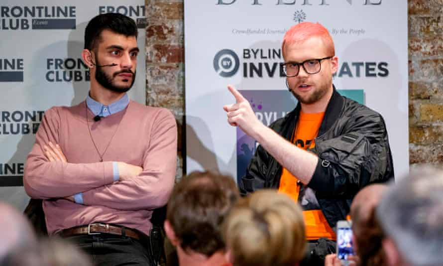 Shahmir Sanni and Christopher Wylie at a press conference at the Frontline Club, March 2018.