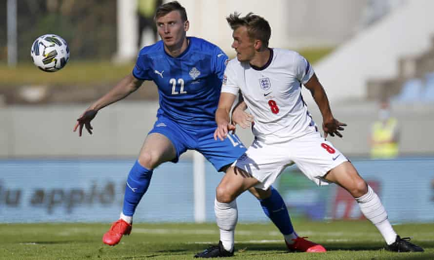 England's James Ward-Prowse (right) and Iceland's Jon Dadi Bodvarsson in the Nations League game in September.