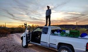 volunteer on truck