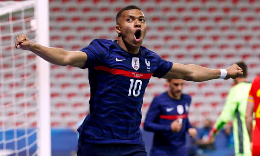 Kylian Mbappé celebrates after scoring France's first goal of the night.