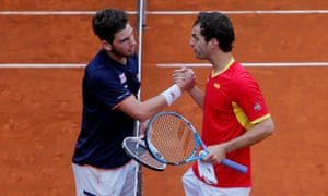 Cameron Norrie, left, was beaten in the decisive fourth rubber by Albert Ramos-Viñolas.