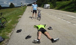 How much further?: Joan takes a quick siesta by the road