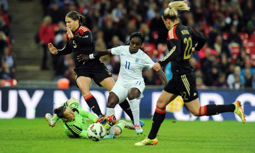 Eniola Aluko playing for England against Germany at Wembley in November 2014.