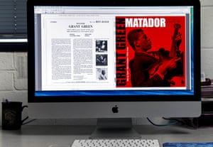 The cover for guitarist Grant Green's album Matador is prepared for press at Stoughton Printing, which prints the jackets for Music Matters.