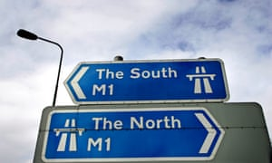 A sign at Junction 26 of the M1 motorway in Nottingham pointing North and South.