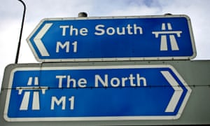 The north and the south road signs