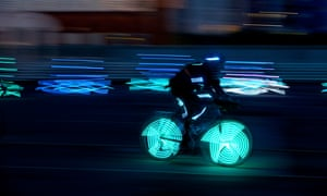 LEEDS, 13th May 2014 - Cyclists wearing illuminated LED suits take part in rehearsals for Ghost Peloton, a performance collaboration between Phoenix Dance Theatre, NVA and Sustrans as part of Yorkshire Festival 2014. The performance at Waides Yard in Leeds city centre on 16th/ and 7th May, is part of the build up to the Tour de France Grand De part from the city in July. Photograph by Christopher Thomond