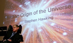 Stephen Hawking giving a presentation at the Free University of Berlin