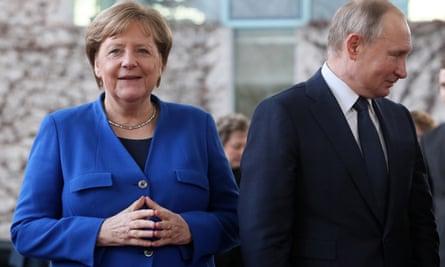 Angela Merkel and Vladimir Putin in Berlin in January