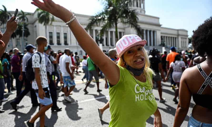 A women taking part in a demonstration in Havana against the Cuban government