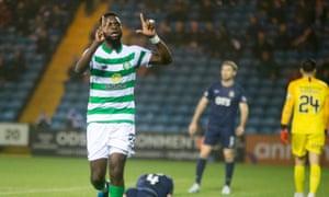 Odsonne Edouard celebrates scoring the opening goal for leaders Celtic at Kilmarnock