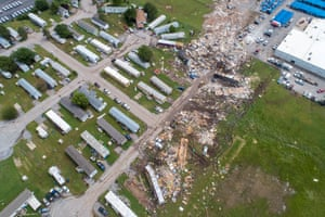 A path of destruction through the Skyview Mobile Park Estates is seen in an aerial photo after a tornado touched down overnight in El Reno, Oklahoma