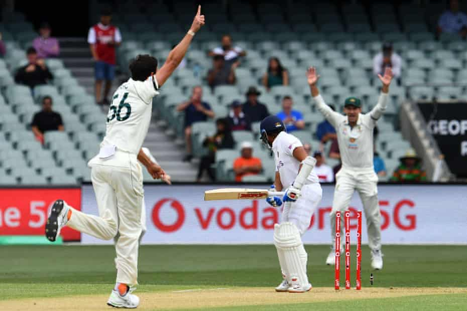 Mitchell Starc celebrates after taking Prithvi Shaw's wicket in Adelaide last December.