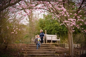Jo, 2, and Lol, 3, explore the blossoming trees of the Royal Horticultural Society garden in Wisley, Surrey. Traditionally, the first day of spring falls on the vernal equinox, which this year took place at 23.21 on Sunday. The equinoxes, in March and September, are the time when the tilt of the earth means the sun is directly above the earth's equator, causing day and night to be of equal length.