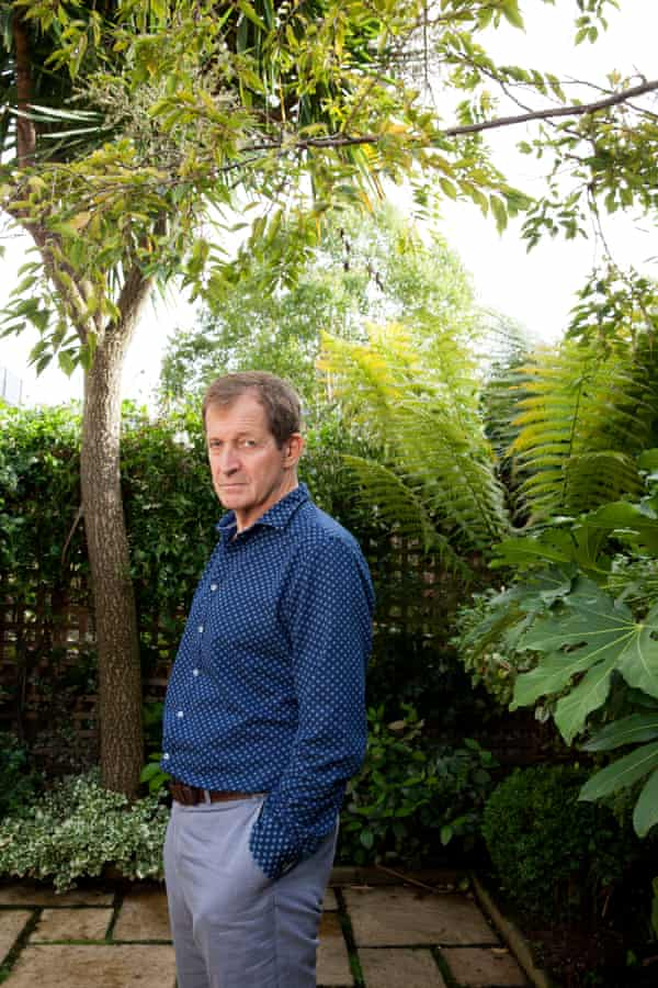 Alastair Campbell in his garden.