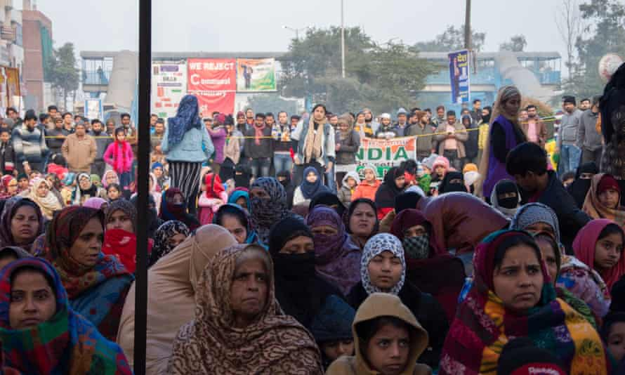 Women holding a sit-in in Shaheen Bagh in December.