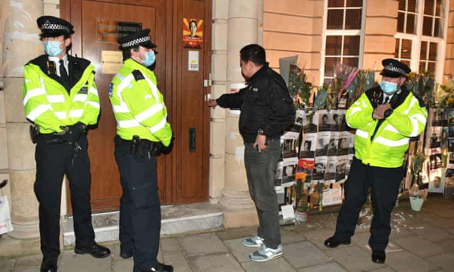 Kyaw Zwar Minn tries unsuccessfully to enter the embassy in Mayfair, London.