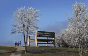 Oy-Mittelberg, Germany A six-metre-tall wooden seat dwarfs walkers near Oy-Mittelberg in southern Germany