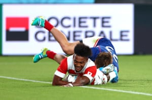 Kotaro Matsushima scores for his hat-trick and Japan's fourth try.