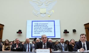 Robert Mueller, center, testifies before the House judiciary committee on Capitol Hill in Washington, on 24 July.