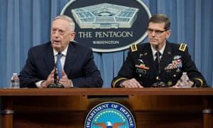 James Mattis, left, repeatedly brushed aside suggestions of ousting Bashar al-Assad.