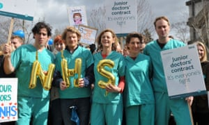 Green Wing cast, from the left, Stephen Mangan, Julian Rhind-Tutt, Pippa Haywood, Tamsin Greig and Oliver Chris join a picket line outside Northwick Hospital in Middlesex.