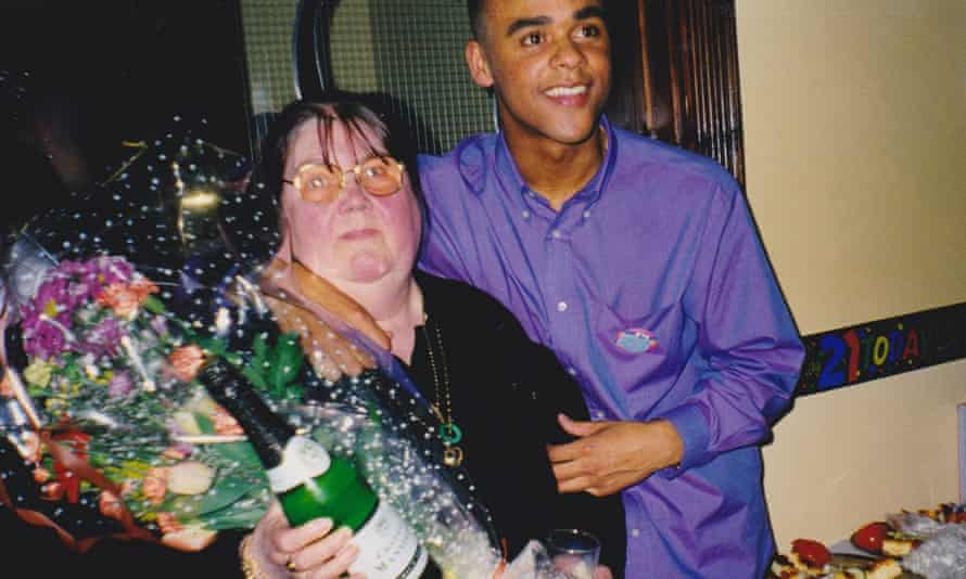 With his mother, Annie, on his 21st birthday in 1999.