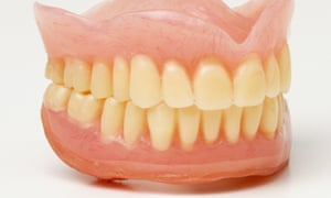Set of false teeth, close up.