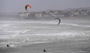 Kite surfers make the most of the powerful gusts in Wissant Bay, northern France