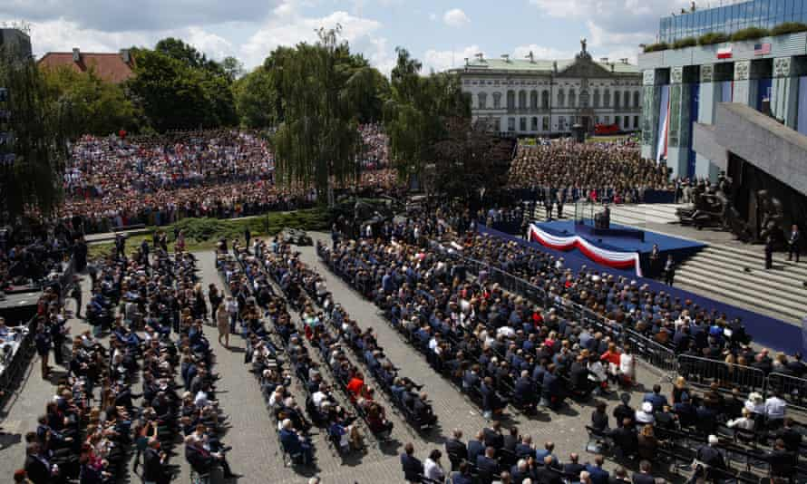 The audience assembled for Donald Trump's address in Krasiński Square.