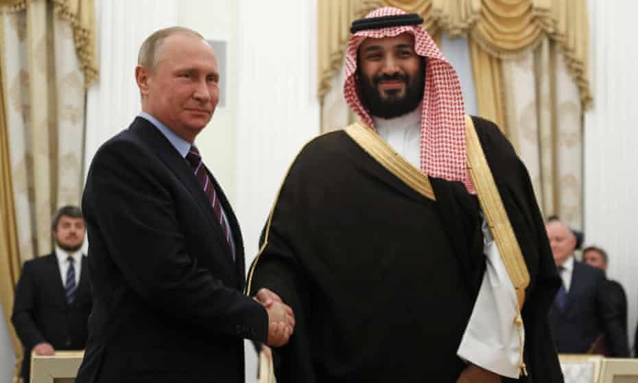 Russia's President Putin and Saudi Arabia's Defence Minister Mohammed bin Salman