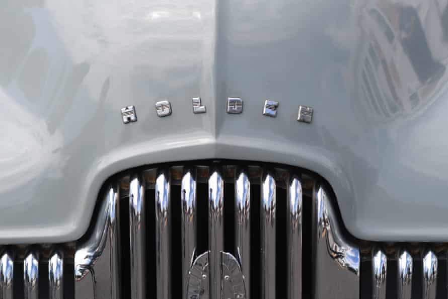 A Holden batch is seen on a historic vehicle during a press conference on the closure of Holden outside Old Parliament House in Canberra in 2017