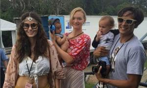 Australian model Gemma Ward (centre) and friends in boho attire at Bluesfest festival in Australia.