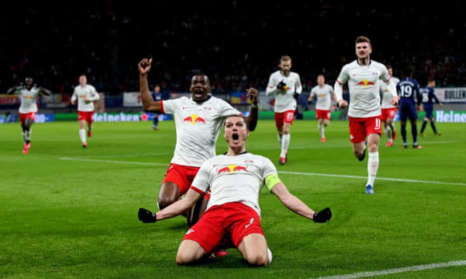 Marcel Sabitzer (leads the Leipzig celebraions after scoring one of his two goals in the Champions League victory over Tottenham.