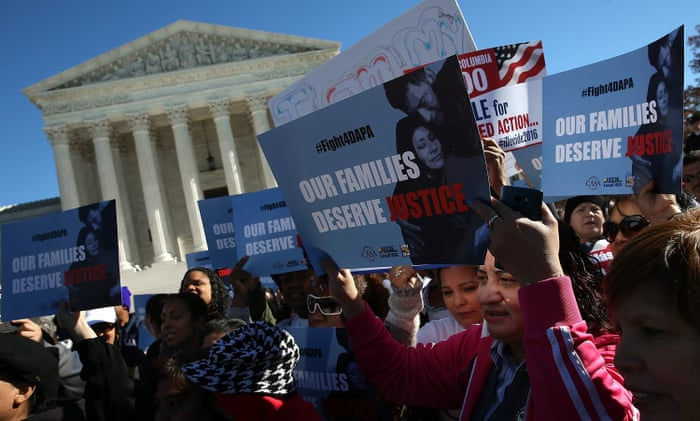 Supporters of immigration reform protest outside the US supreme court on Friday. The protesters demanded the implementation of President Obama's immigration relief programs.