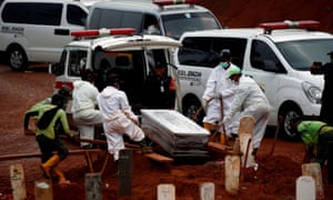 Workers wearing protective suits bury a coffin at the burial area provided by the Indonesian government for coronavirus victims in Jakarta.