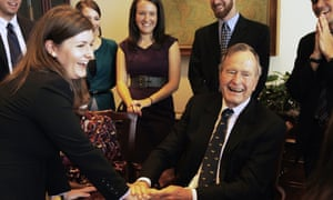 George Bush Sr photo opportunity with smiling woman