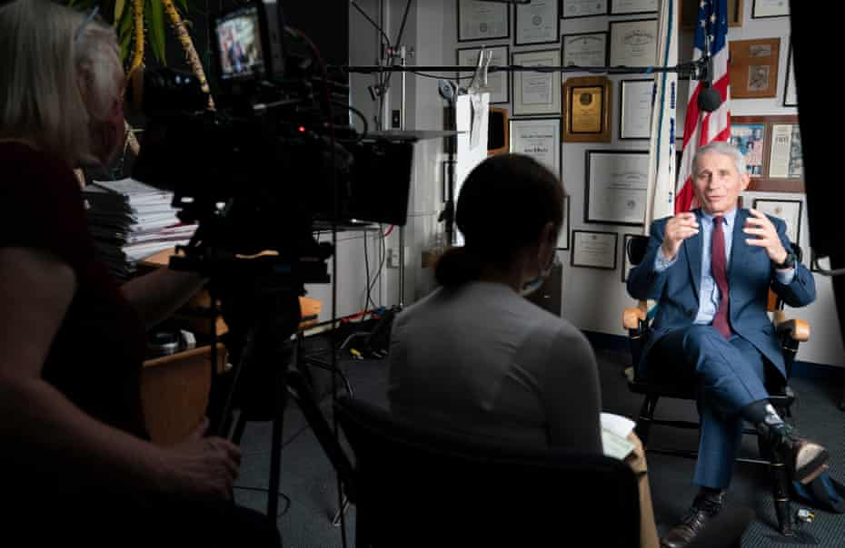 Anthony Fauci filming an interview for the documentary Fauci