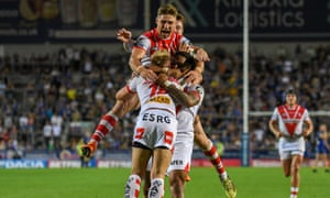 Danny Richardson celebrates kicking the match winning penalty for St Helens in the dying seconds of the game against Warrington on Thursday.