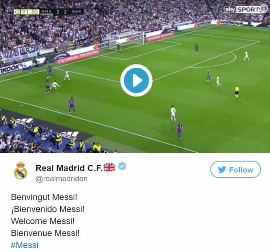 A tweet welcomes Lionel Messi to Real Madrid.