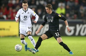 Conor Gallagher, see here in action for Charlton against Swansea on 2 January, is set to join the Welsh side from Chelsea.