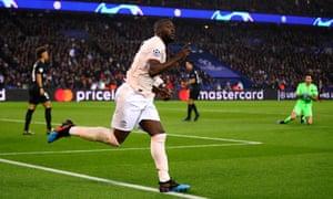Romelu Lukaku celebrates scoring Manchester United's opening goal against PSG.