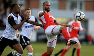 Nathan Pond clears the danger during Fleetwood's win against Hereford in the FA Cup second round.