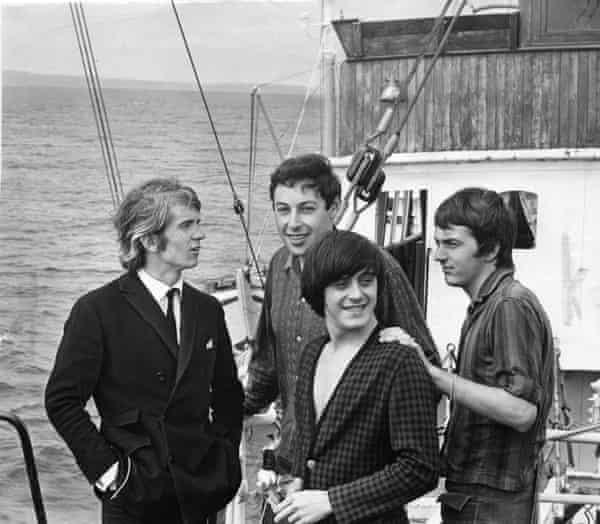 Ronan O'Rahilly, left, on board the ship broadcasting Radio Caroline with DJs Jerry Leighton, Tony Prince and Lee Harrison.