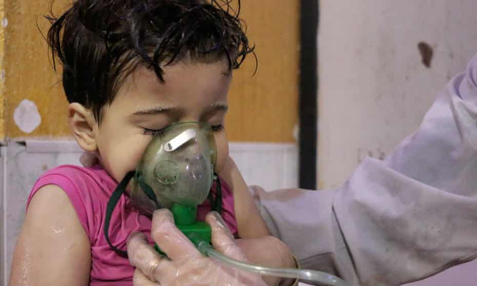 A child receives treatment after a poisonous gas attack by the Assad regime in Ghouta, Syria