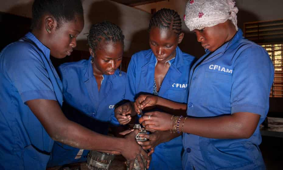 A class for auto mechanic at the CFIAM all-female school in Ouagadougou.